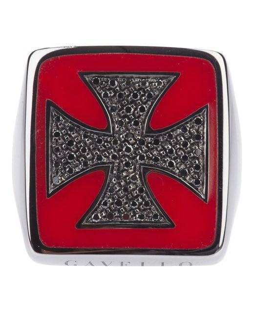 GAVELLO   Женское Серебристый 18ct Rhodium Ring From Featuring A Cross