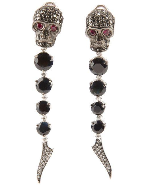 GAVELLO   Женское Чёрный And And Rhodium Skull Head Earrings From
