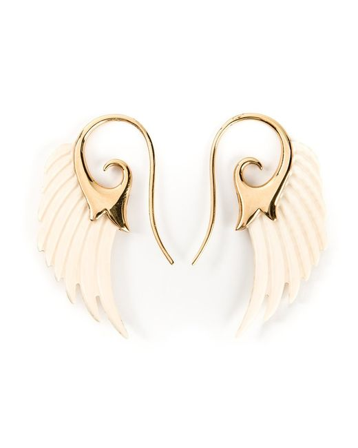 Noor Fares | Женское Nude & Neutrals Ecru Mammoth And 18kt Wing Earrings From