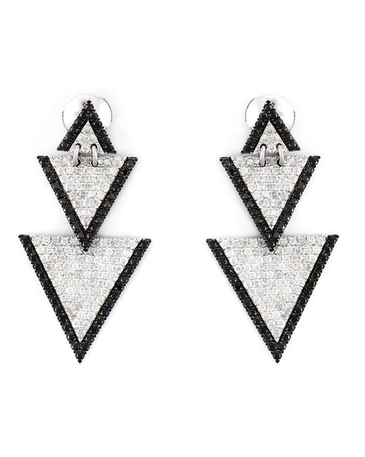ELISE DRAY | Женское Серебристый Drop Triangle Diamond Earrings