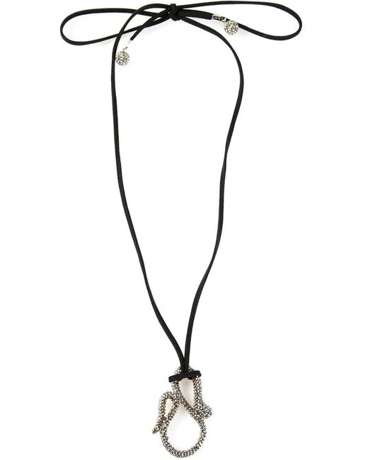 Roni Blanshay | Женское Чёрный Snake Pendant Necklace From Featuring Crystal Embellishments