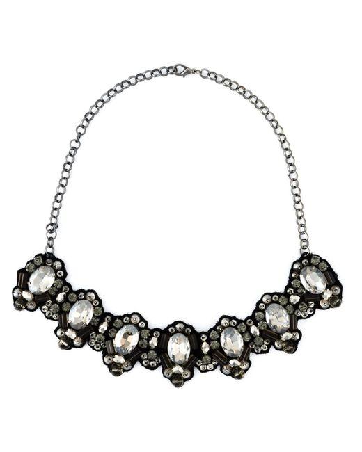 Dice Kayek | Женское Чёрный Crystal Stone On Fabric Necklace From