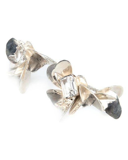 YUKIE DEUXPOINTS | Женское Серебристый Yukié Deuxpoints Crystal Detail Hand Ring