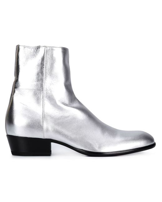 Maison Margiela   Мужские Серебристые Ботинки По Щиколотку