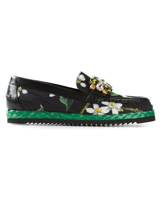 Dolce & Gabbana | Женское Leather Blossom Embellished Loafers From Featuring A
