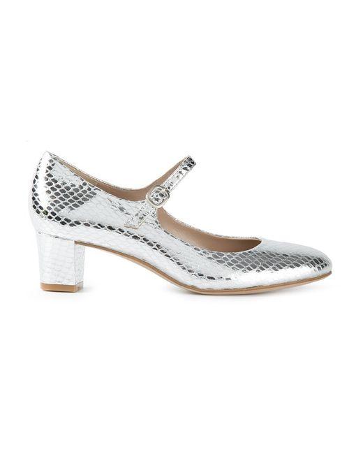Avril Gau   Женское Metallic -Tone Leather Block Heel Sandals From