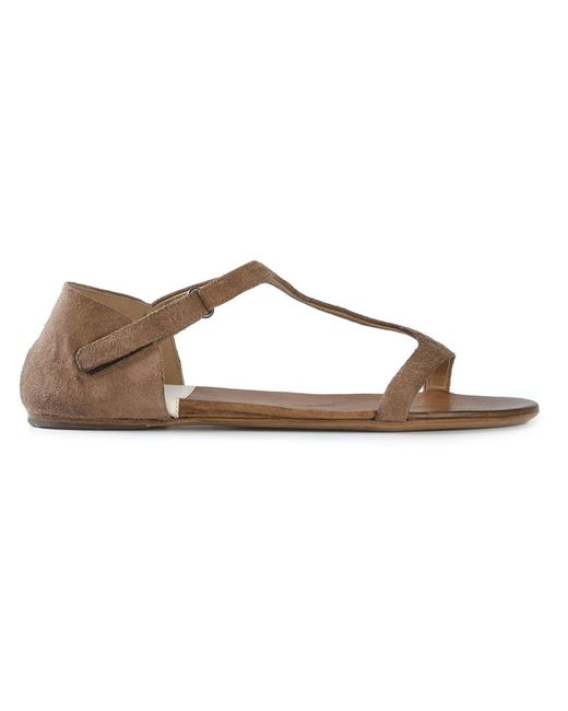 Marsell | Женское Коричневый Calf Leather T-Bar Flat Sandals From