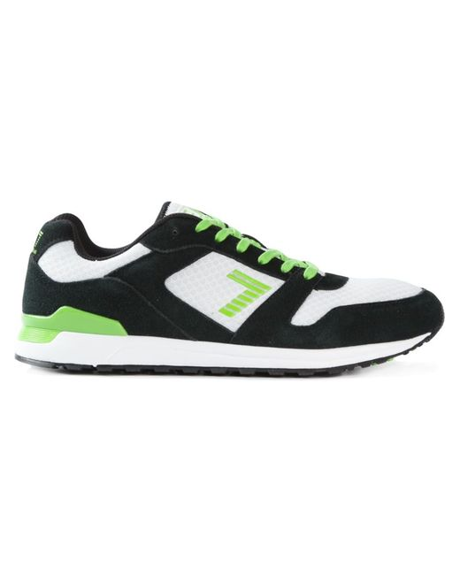 EA7 | Мужское And Neon Nubuck Leather Panelled Lace-Up Sneakers