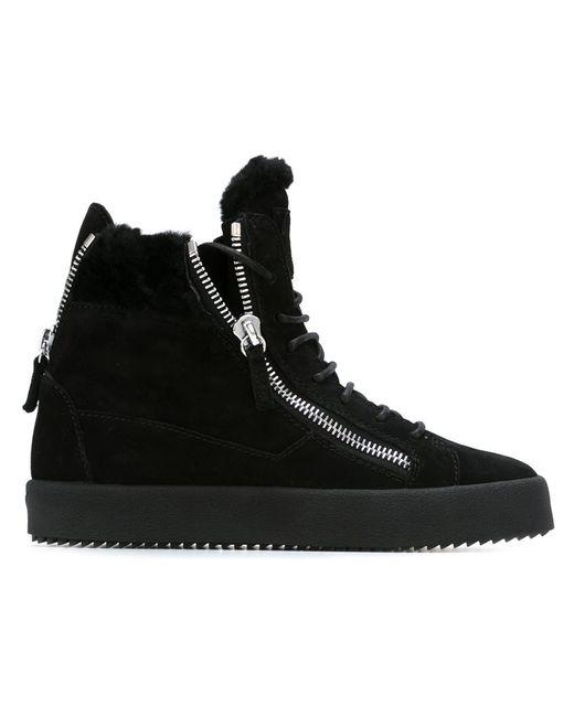 Giuseppe Zanotti Design | Женское Чёрный Suede Fur Trimmed Hi-Top Sneakers From Featuring
