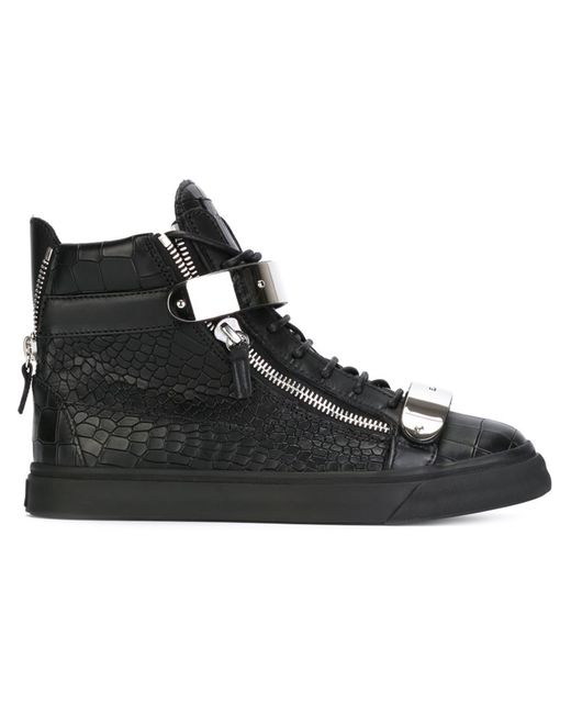 Giuseppe Zanotti Design | Мужское Чёрный Leather Zip Detail Hi-Top Sneakers From Featuring