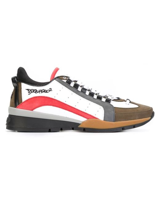 Dsquared2   Мужское Multicoloured Leather Colour Block Sneakers From Featuring