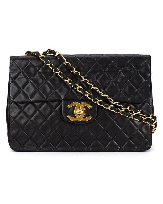 Chanel Vintage   Женская Чёрная Большая Стёганая Сумка На Плечо