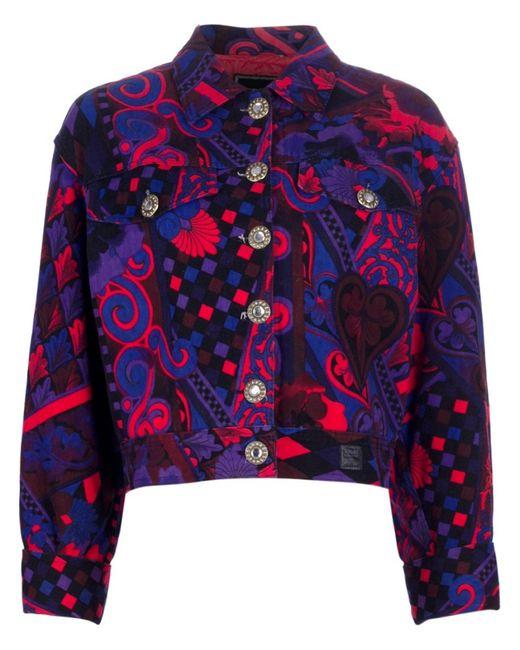 Versace | Женская Розовая Джинсовая Куртка С Узором