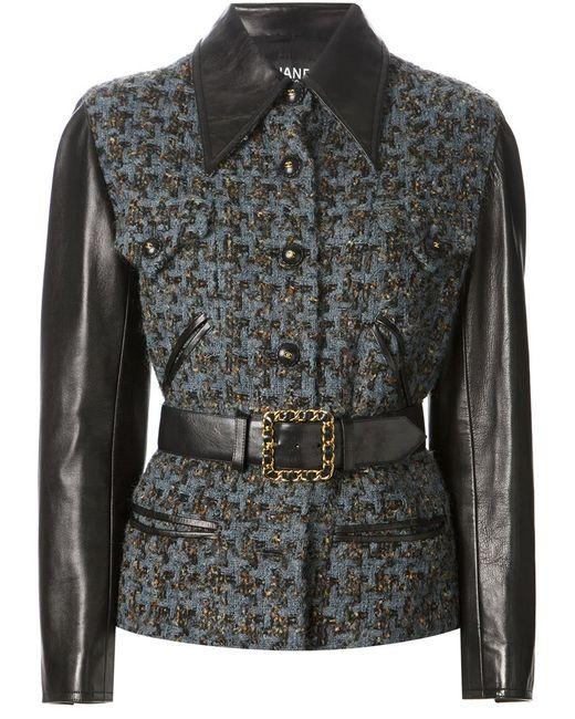 Chanel Vintage   Женская Синяя Куртка-Букле