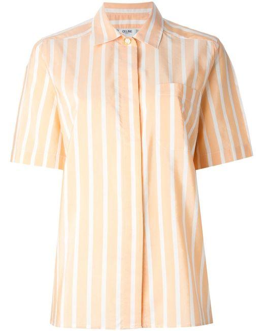 Celine Vintage | Женская Жёлтая Полосатая Рубашка С Короткими Рукавами