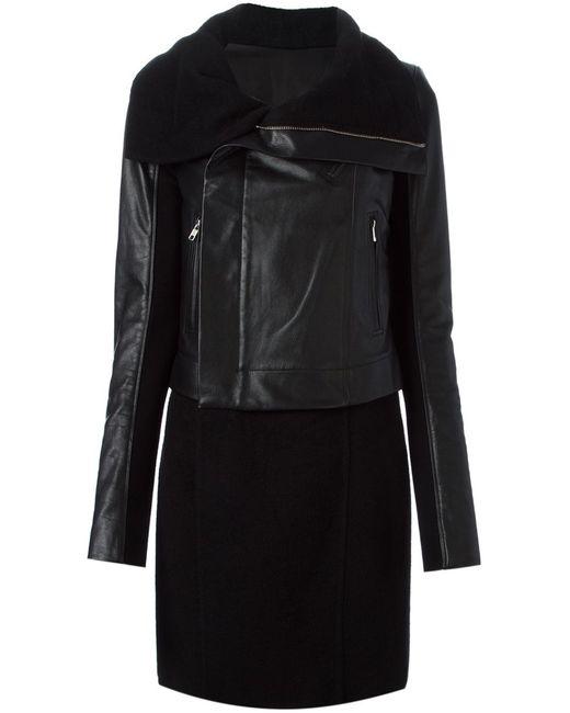 Rick Owens | Женское Чёрный Leather And Cashmere Panelled Biker Coat From