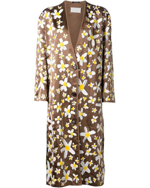 Maison Margiela | Женское Коричневый And Silk And Cotton Blend Print Overcoat