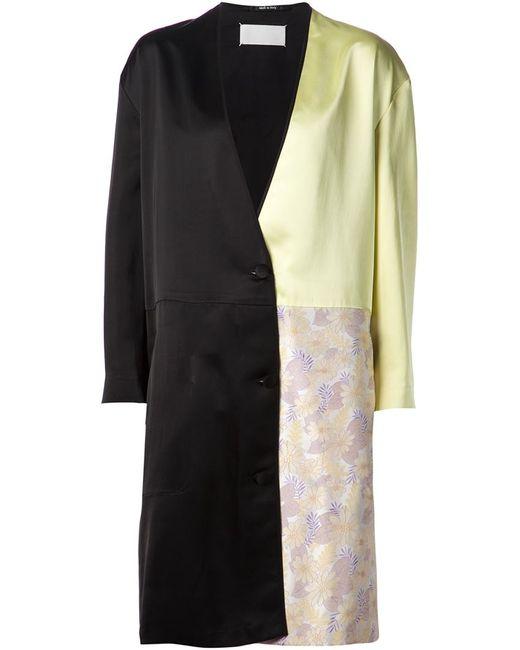 Maison Margiela | Женское Чёрное Пальто В Стиле Колор-Блок