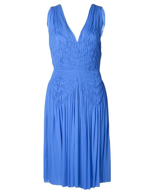 Maison Rabih Kayrouz | Женское Синее Плиссированное Платье C V-Вырезом