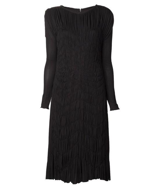 Maison Rabih Kayrouz   Женское Чёрное Платье С Узором Средней Длины