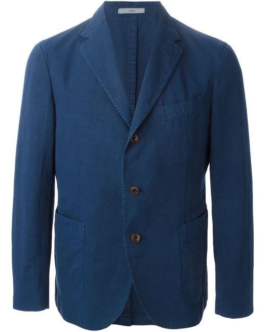Boglioli | Мужское Синий Cotton-Linen Blend Three Button Blazer From