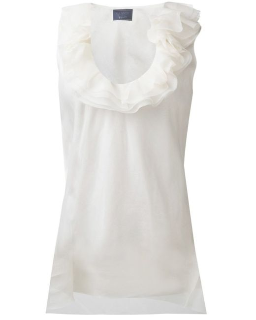 Lanvin   Женское Белый Ruffled Collar Top