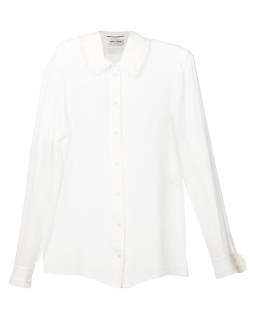 Saint Laurent   Женское Silk Georgette Frills Blouse From Featuring A
