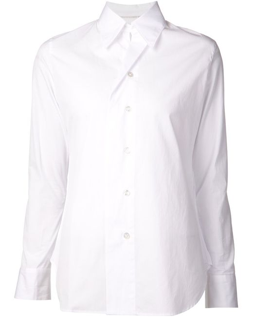 Yohji Yamamoto | Женская Белая Рубашка Со Складной
