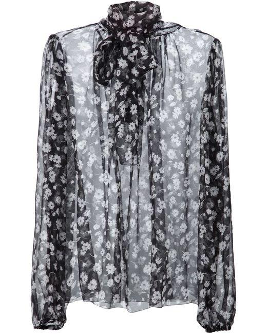 Dolce & Gabbana | Женская Чёрная Прозрачная Блузка С Цветочным Узором