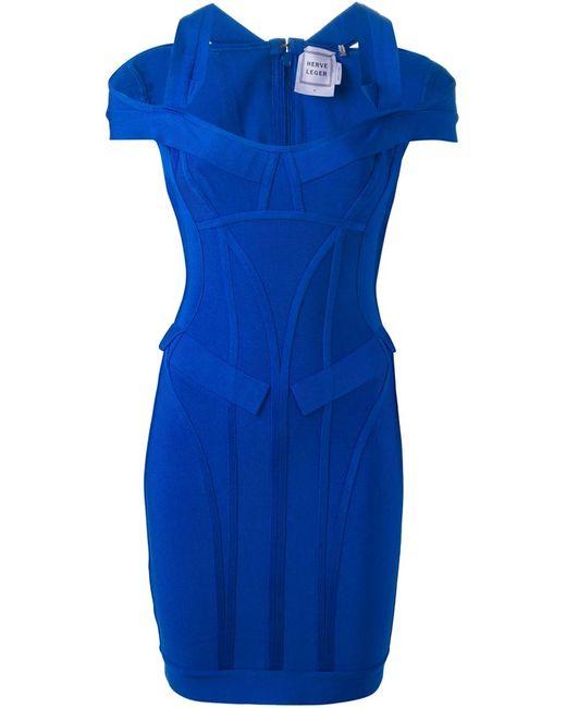 Hervé Léger | Женское Синее Приталенное Платье Lilliana