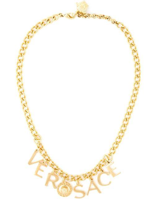 Versace   Женское Серебристый Letter Pendant Necklace