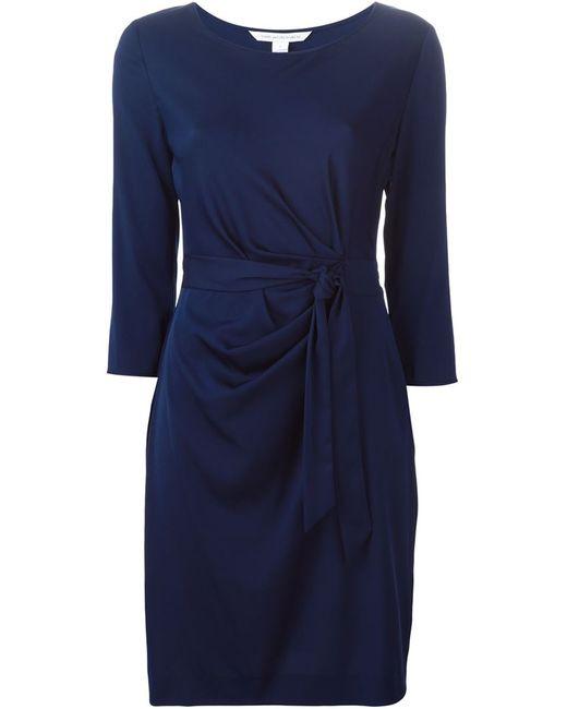Diane Von Furstenberg | Женское Синий Three-Quarter Sleeve Tie Dress