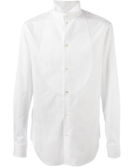 Armani Collezioni | Мужская Белая Рубашка С Воротником Стойкой Со Скошенными Концами