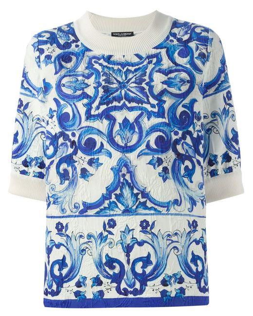 Dolce & Gabbana | Женский Белый Парчовый Топ С Принтом Majolica