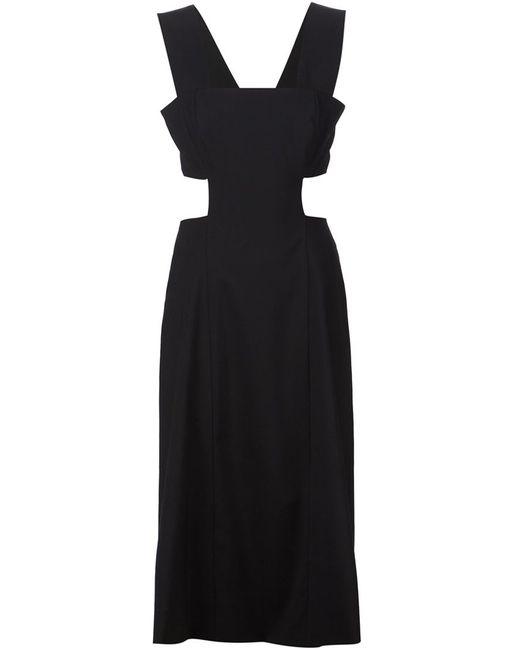 Suno | Женское Чёрное Расклешенное Платье С Вырезными Деталями