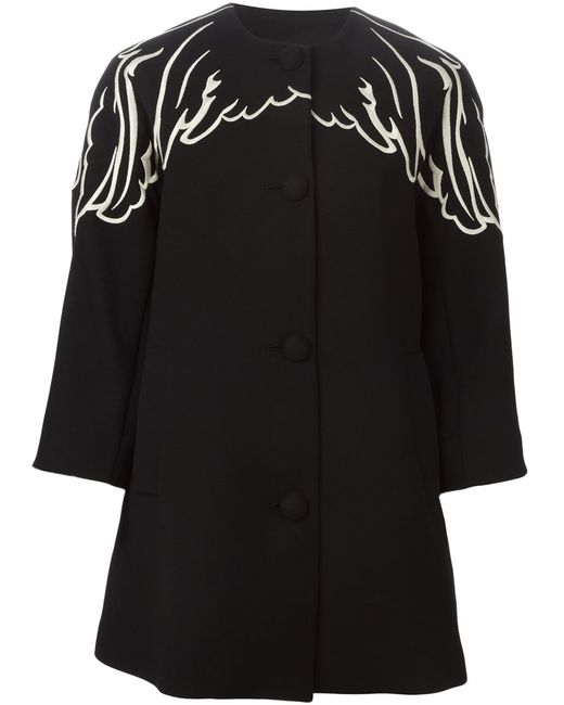 Red Valentino   Женское And Virgin Wool Embroidered Wing Coat From