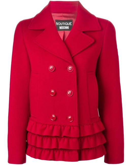BOUTIQUE MOSCHINO | Женское Красное Укороченное Пальто С Рюшами По Подолу