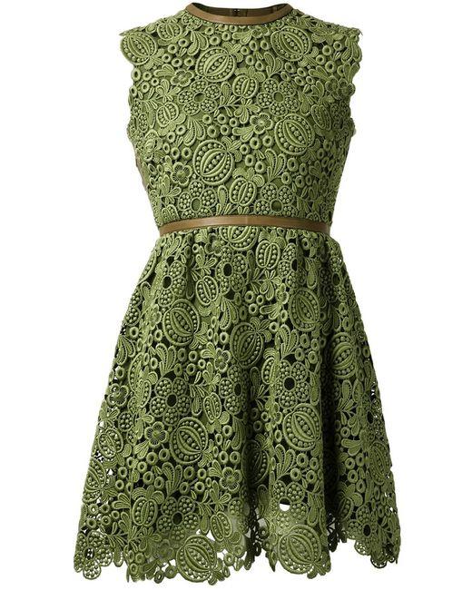 Valentino | Женское Зелёное Кружевное Платье С Открытой Спиной
