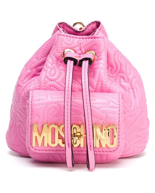 Moschino | Женский Розовый Рюкзак Мини С Логотипом