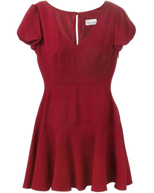 Red Valentino | Женское Красное Расклешенное Платье С Короткими Рукавами
