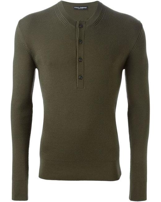 Dolce & Gabbana | Мужское Серый Ribbed Henley Sweater