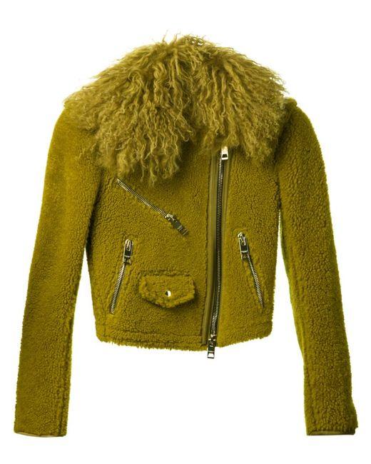 Burberry Prorsum | Женская Зелёная Байкерская Куртка Из Овчины
