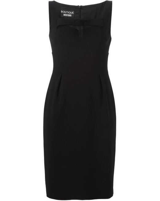 BOUTIQUE MOSCHINO | Женское Чёрное Приталенное Платье С Бантом