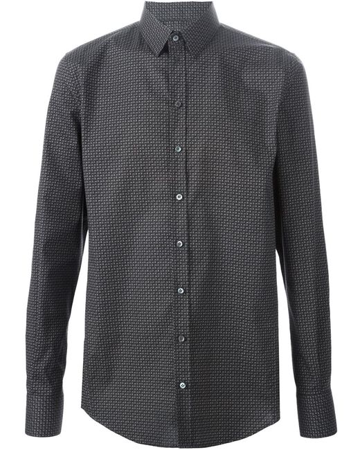 Dolce & Gabbana | Мужская Серая Рубашка С Геометрическим Узором