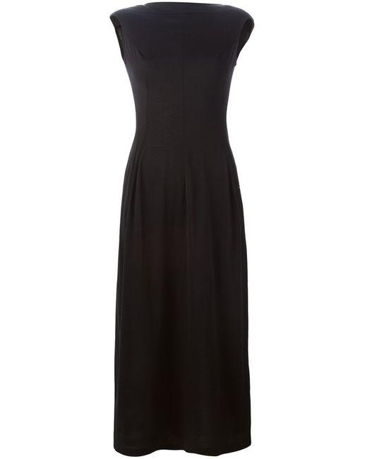 Yohji Yamamoto   Женское Чёрное Приталенное Платье С Вырезом-Лодочкой