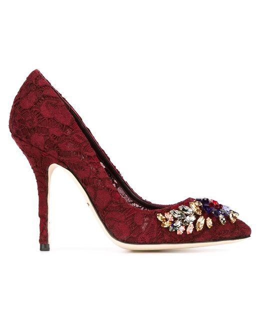 Dolce & Gabbana | Женские Красные Декорированные Туфли Bellucci