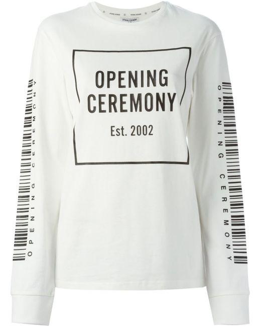 Opening Ceremony   Женская Белая Толстовка С Принтом Логотипа