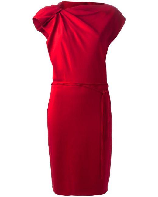 Lanvin   Женское Красное Платье С Присборенным Плечом