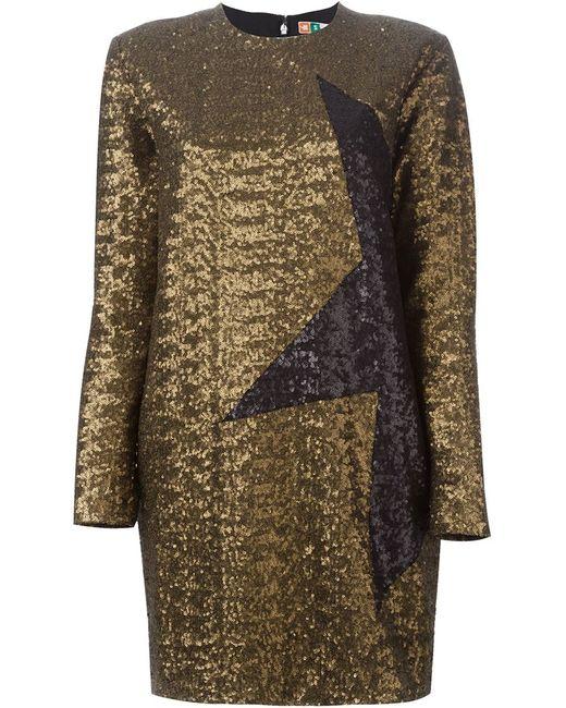 MSGM | Женское Серебристое Платье С Пайетками
