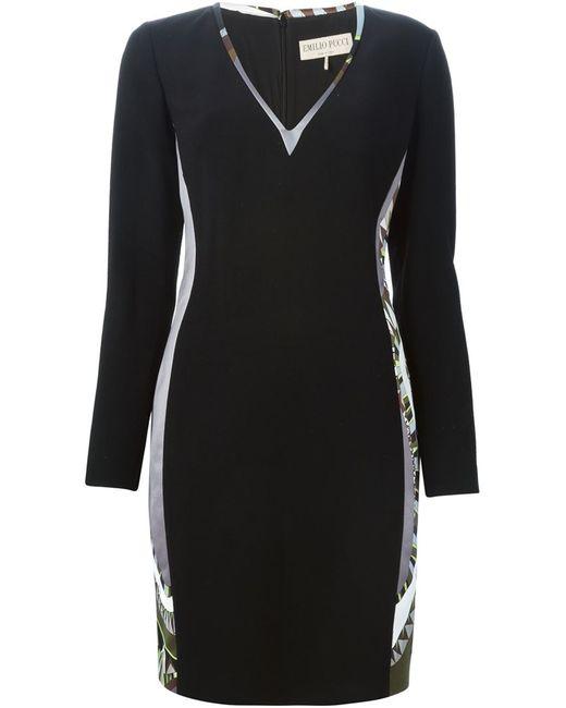 Emilio Pucci   Женское Чёрное Платье C Панельным Дизайном И V-Образным Вырезом